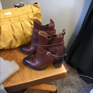 Brown Leather Boots with Buckle